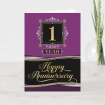 Employee Anniversary 1 Year Decorative Formal Plum Card