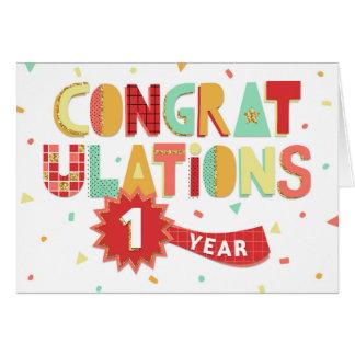 Employee Anniversary 1 Year Fun Congratulations Card