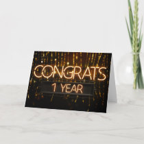 Employee Anniversary 1 Year - Neon Signs Card