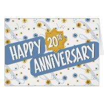 Employee Anniversary 20 Years Blue White Pattern Card