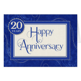 Employee Anniversary 20 Years - Text Swirls Blue Card