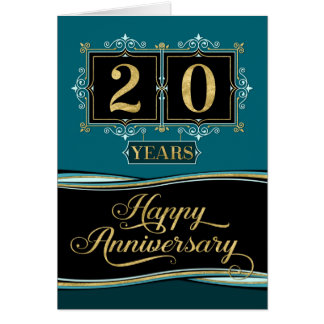 Employee Anniversary 20 Yrs Decorative Formal Jade Card