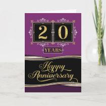 Employee Anniversary 20 Yrs Decorative Formal Plum Card