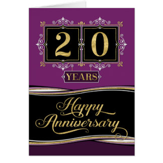 Employee Anniversary 20 Yrs Decorative Formal Plum Card