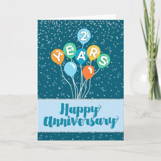 employee anniversary 2 years  balloons confetti card