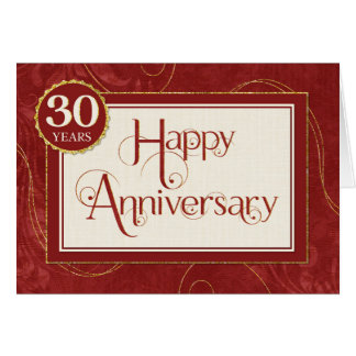 Employee Anniversary 30 Years - Text Swirls Damask Card