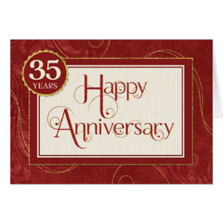 Employee Anniversary 35 Years - Text Swirls Damask Card