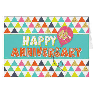 Employee Anniversary 40 Years - Colorful Pattern Card