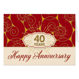 Employee Anniversary 40 Years - Red Swirls Card