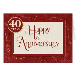 Employee Anniversary 40 Years - Text Swirls Damask Card
