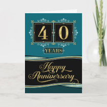 Employee Anniversary 40 Yrs Decorative Formal Jade Card