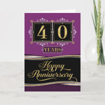 Employee Anniversary 40 Yrs Decorative Formal Plum Card