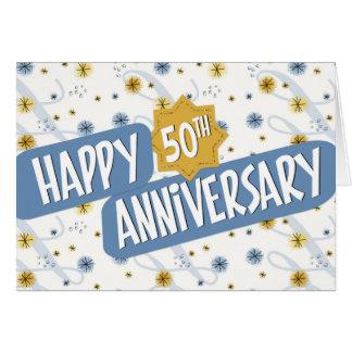 Employee Anniversary 50 Years Blue White Pattern Card
