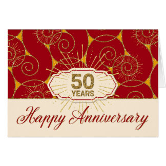 Employee Anniversary 50 Years - Red Swirls Card