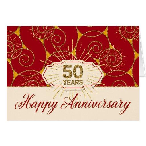 Employee anniversary years red swirls card zazzle