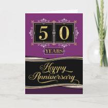 Employee Anniversary 50 Yrs Decorative Formal Plum Card