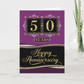 Employee Anniversary 50 Yrs Decorative Formal Plum Card