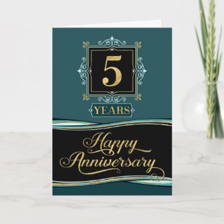 Employee Anniversary 5 Year Decorative Formal Jade Card