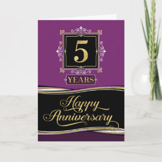 Employee Anniversary 5 Year Decorative Formal Plum Card