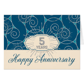 Employee Anniversary 5 Years - Blue Swirls Card