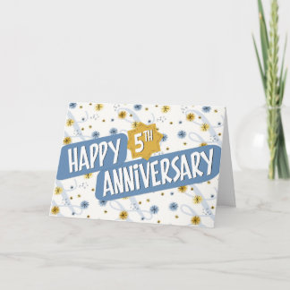 Employee Anniversary 5 Years Blue White Pattern Card