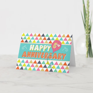 Employee Anniversary 5 Years - Colorful Pattern Card
