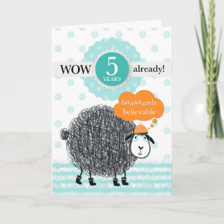 Employee Anniversary 5 Years Fun Sheep Card