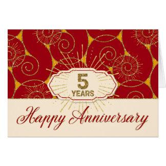 Employee Anniversary 5 Years - Red Swirls Card