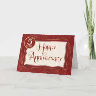 Employee Anniversary 5 Years - Text Swirls Damask Card