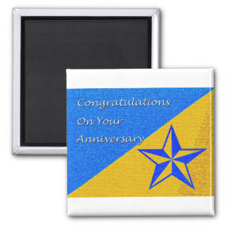 Employee Anniversary Blue and Gold Star Magnet