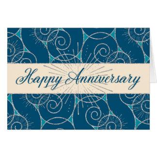 Employee Anniversary - Blue Swirls Card