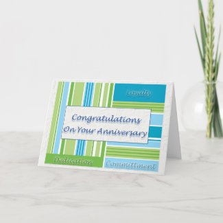Employee Anniversary Card Blue and Green