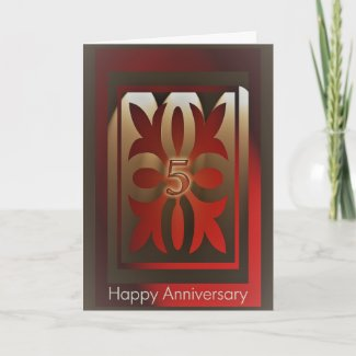 Employee Anniversary Cards 5 Years Red and Gold