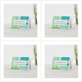 Employee Anniversary Cards Blue Stripes