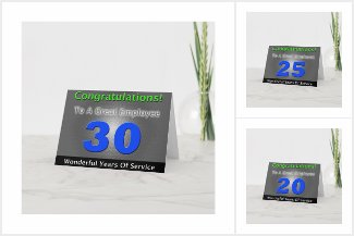 Employee Anniversary Cards Bold Blue and Gray
