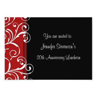 "Employee Anniversary Lunch Invitations Red Black 5"" X 7"" Invitation Card"