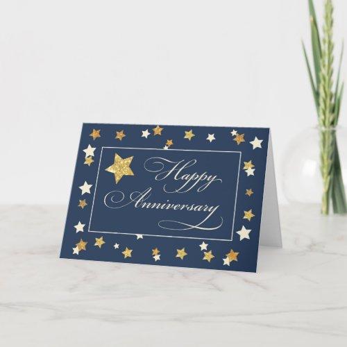 Employee Anniversary Navy Gold Effect Stars Card