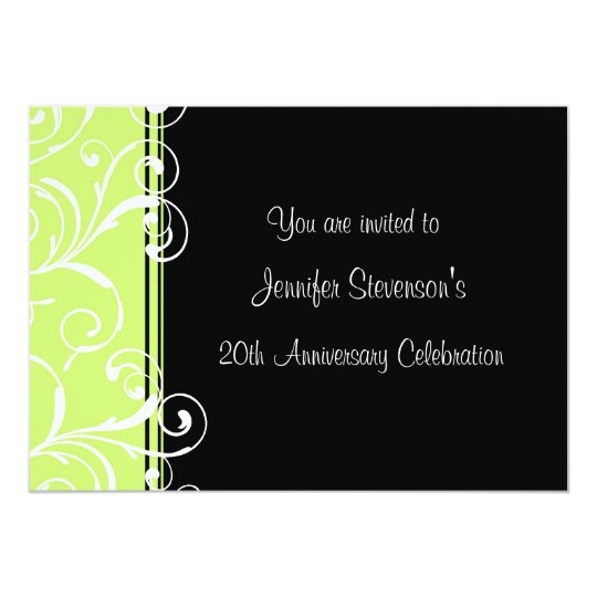Employee Anniversary Party Invitations Green Black
