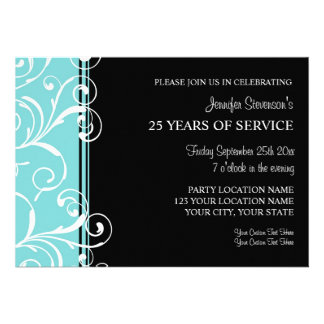 Employee Anniversary Party Invitations Teal Black