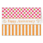 Employee Anniversary - Stripes Polka Dots Sparkle Card