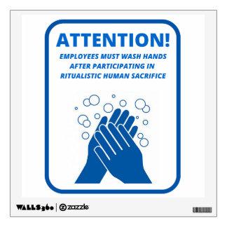 Employee hand washing wall decal