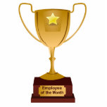 Employee of the Month Award, Golden Trophy Photo Sculpture