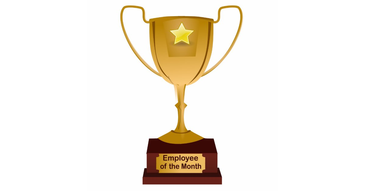 employee of the month award golden trophy statuette zazzlecom - Employee Of The Month Award