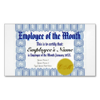 Employee of the Month Certificate Business Card Magnet