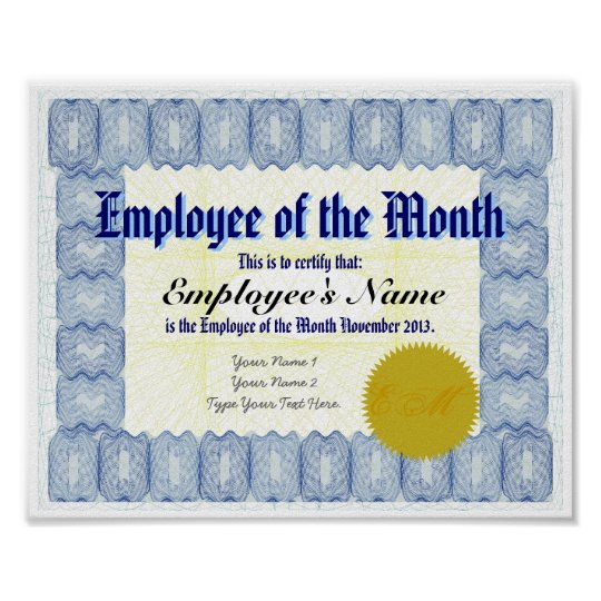 employee of the month certificate print zazzle com