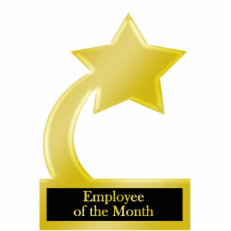 Employee of the Month, Gold Star Award Trophy Cutout