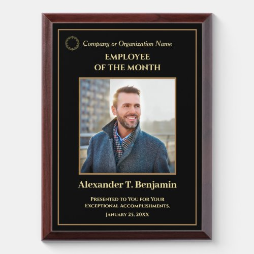 Employee Of The Month Photo Logo Gold Personalize  Award Plaque