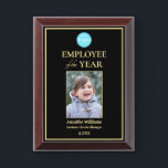 "Employee of the Year Company Logo Photo Black Gold Award Plaque<br><div class=""desc"">Create your own custom, personalized, beautiful, elegant, professional, high quality, glossy finish, black and faux gold, cherry wood colored MDF frame, business office corporate employee recognition / appreciation, photo name logo award plaque. To personalize, enter the name of the employee / staff / executive, their designation, year, and add the...</div>"