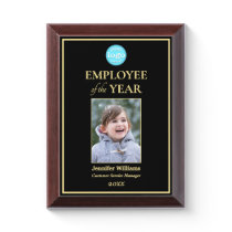 Employee of the Year Company Logo Photo Black Gold Award Plaque