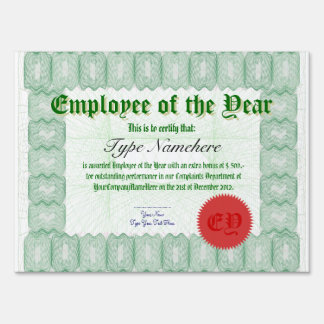 Employee of the Year Presentation Check Yard Signs